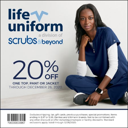 Winter 2020 Coupon: 20% off one top, pant or jacket from Life Uniform