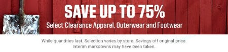 Save up to 75% on Select Clearance Apparel, Outerwear and Footwear from Dick's Sporting Goods