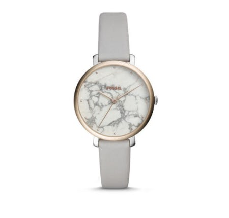 Jacqueline Three-Hand Mineral Gray Leather Watch from Fossil