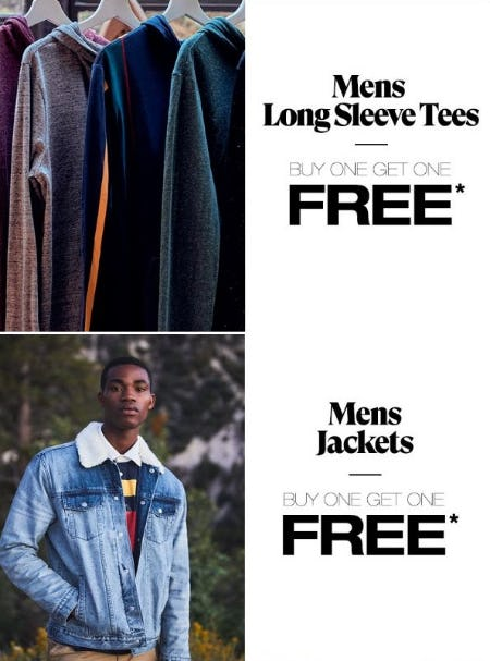 BOGO Free Men's Long Sleeve Tees & Men's Jackets from PacSun
