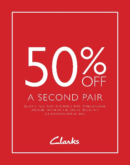 Take 50% Off A Second Pair from Clarks