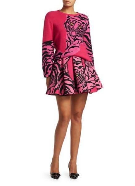 Valentino Tiger Wool & Silk Pleated Skirt