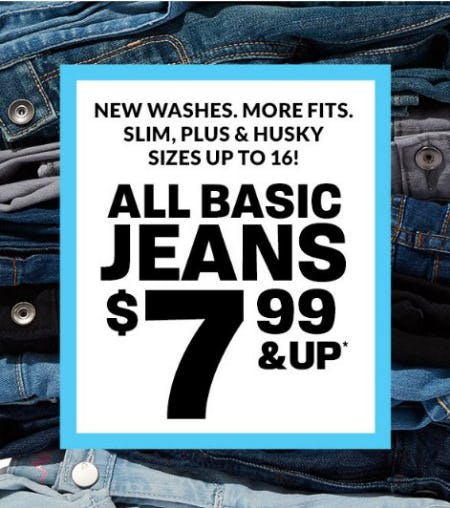 All Basic Jeans $7.99 & Up from The Children's Place