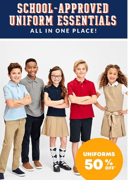 Uniforms 50% Off from The Children's Place