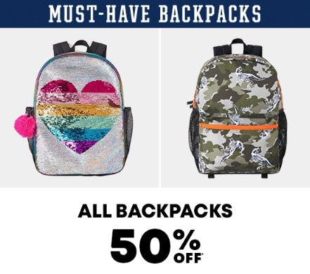 All Backpacks 50% Off from The Children's Place