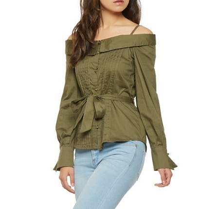 Pleated Off the Shoulder Button Front Top