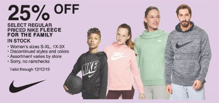 25% Off on Select Regular Priced Nike Fleece for The Family