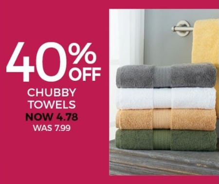 40% Off Chubby Towels from Stein Mart