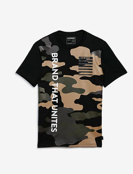 Brand That Unites Camo Vertical Graphic Tee from Express