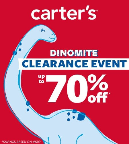 Dinomite Clearance Event- Up to 70% off from Carter's