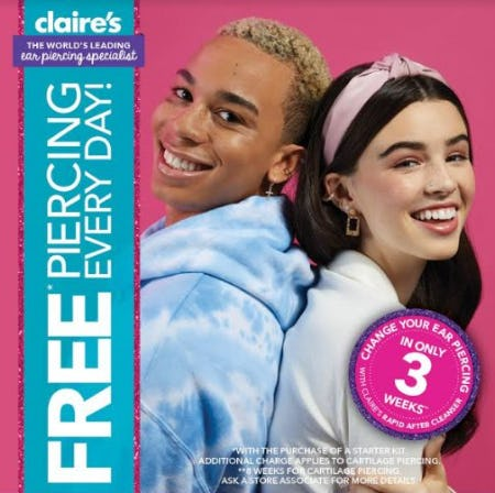 Free Piercing Every Day from Claire's