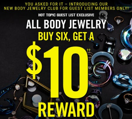 Buy Six, Get a $10 Reward All Body Jewelry