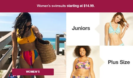 Women's Swimsuits Starting at $14.99