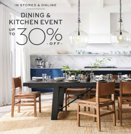 Up to 30% Off Dining & Kitchen Event from Pottery Barn
