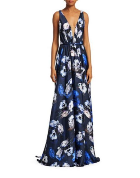 Theia Ultraviolet Floral A-Line Gown from Saks Fifth Avenue
