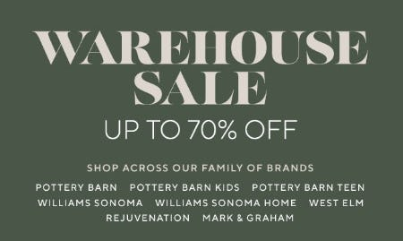 Warehouse Sale Up to 70% Off from Pottery Barn