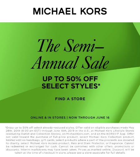 The Semi Annual Sale from MICHAEL KORS