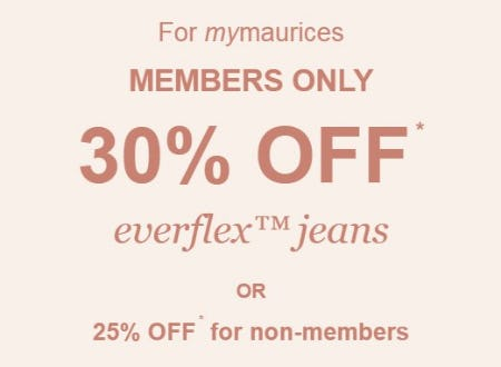 30% Off Everflex Jeans from maurices