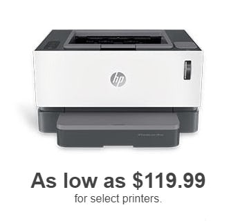 As low as $119.99 for Select Printers