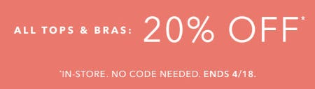 20% Off All Tops & Bras from Athleta